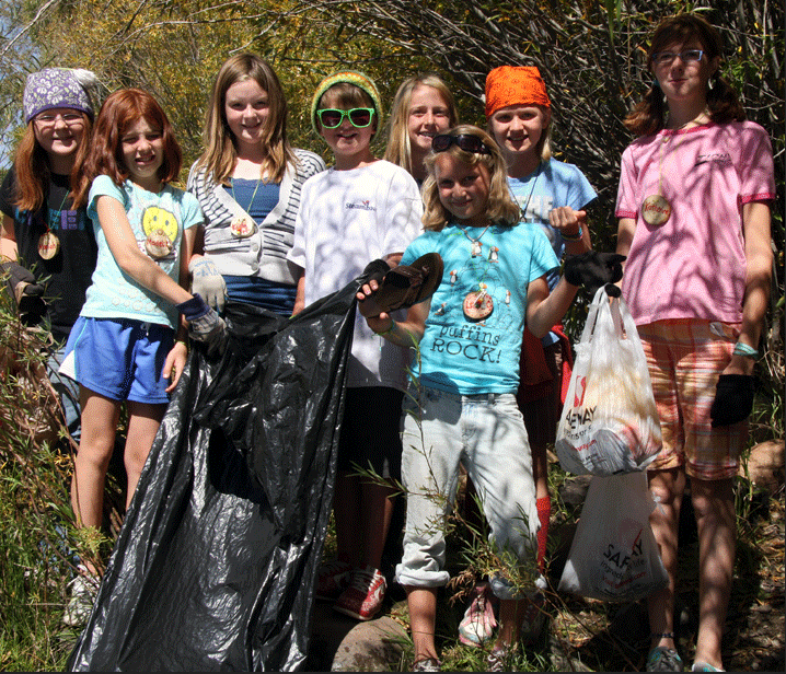 Yampa Valley Science School students clean up the Yampa River near Steamboat Springs.
