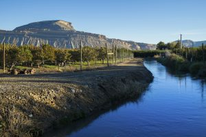 Irrigation water used for grapes and fruit groves in scenic landscape on sunny day. Palisade, Colorado USA.